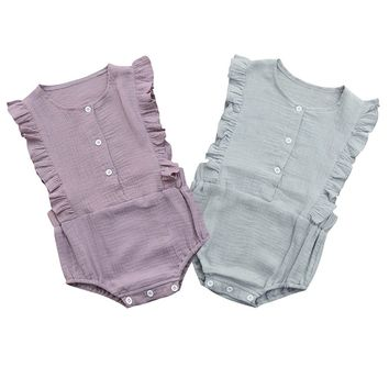 Cotton Ruffle Sleeveless Jumpsuit  For Baby Girl