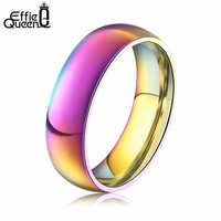 Effie Queen Classic Men Women Rainbow Colorful Ring Titanium Steel Wedding Band Ring Width 6mm Size 6-12 Gift WTR93