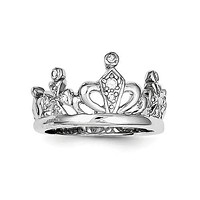 925 Sterling Silver Royal Crown CZ Ring