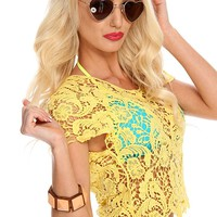 Yellow Crochet Short Sleeve Top