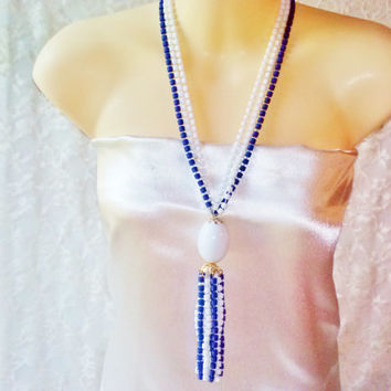 Blue & White Multi Strand Bead Flapper Tassel Necklace Vintage Barrel Beads Lg Egg Pendant Tassel Gold Filigree Caps Long Costume Jewelry