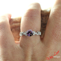 Alexandrite Color Change Sapphire Diamond Engagement Ring milgrain leaf Eternity 1ct 6mm 14k 18k White Yellow Rose Gold-Platinum-Custom made