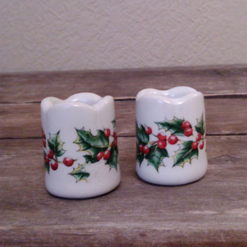 Vintage Funny Design Holly Candlestick Holders, Funny Design, W. Germany, Mini Christmas Candle Holders