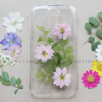 Pressed Flower Samsung Galaxy S4 Case, Real Flower Samsung Galaxy S5 Case, Handmade Natural Flower iPhone 5 Case Dried Flower iPhone 5s Case