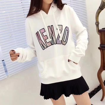 """""""Kenzo"""" Women Casual Fashion Sequin Letter Tiger Head Embroidery Long Sleeve Hooded Sweater Hoodie Tops"""