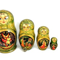 Vintage Russian Nesting Dolls Matryoshka FAIRYTALE AND Enamel Pendant - Gilt Hand Painted Vintage c1980
