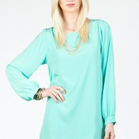 Solid Shift Dress in Mint- ShopSosie.com