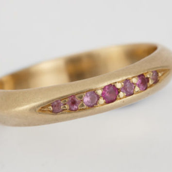 Be my Sweetie - Sweet Pea Wedding/Engagement Ring- 18k gold ring w/ Pink Sapphire and Emerald Gemstones Using Recycled Gold.