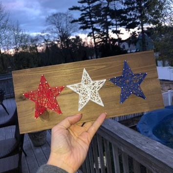 Star String Art - Red, White, and Blue - USA, America, Love, Nation, 4th of July, Memorial Day, Country