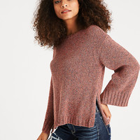 AEO Boxy Side-Zip Sweater, Pink