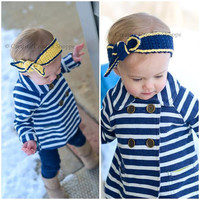 Navy & Yellow Knot Headband, Sizes Newborn to Adult!