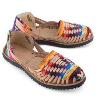 Women's Traditional Mayan Woven Leather Huarache Sandals