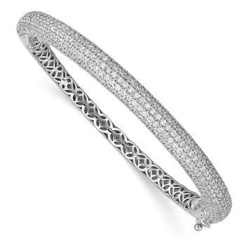 Sterling Silver Rhodium Plated with CZ Hinged Bangle