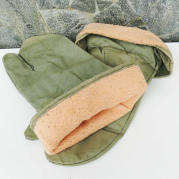 Vintage Warm Canvas Military gloves,Work Gloves, Strong Oven Gloves, Hand Protector Gloves, Green Working Gloves
