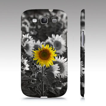 iPhone Case, iPhone 4/4S and 5, Samsung Galaxy S3 and S4, Sunflower, Black & White, Yellow, Nature Photography, Summer
