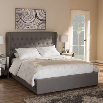 Baxton Studio Penelope Modern and Contemporary Light Grey Fabric Queen Size Gas-Lift Platform Bed  Set of 1