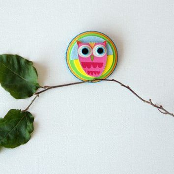 made to order Handmade brooch with owl decor by Tutika on Etsy