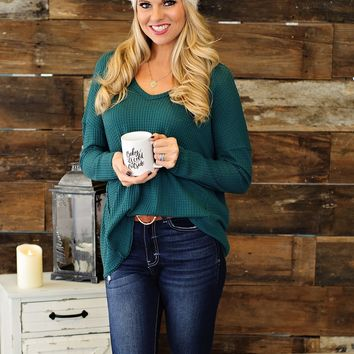 * So Obivous Waffle Knit Top: Hunter Green