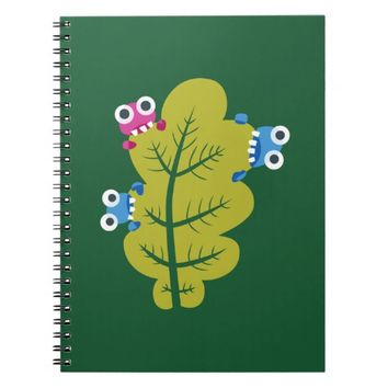 Cute Cartoon Bugs Eat Green Leaf Kids Notebook