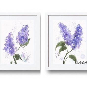 Watercolor Purple flower wall art Printable Purple home decor Lilac Wall art Lavender Wall decor Set of 2 flower prints 5x7 8x10 DOWNLOAD