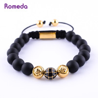 Romeda Nature Stone Black Pulseira Rope Handmade Shamballa Bracelets Mens Beaded Bracelets Jewelry For Christmas Gifts