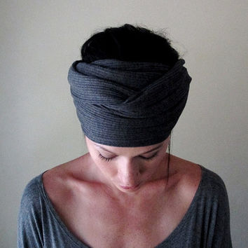 Charcoal Gray Head Scarf Hair wrap Headband  Womens by EcoShag
