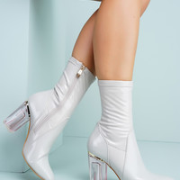 Fay Patent Perspex Booties - Grey