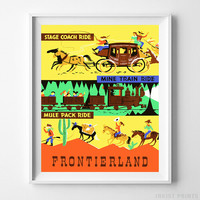 Vintage Disneyland Poster Stage Coach Ride Disney Wall Art Home Decor UNFRAMED by Inkist Prints