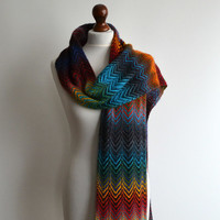 Scarf - hand knitted multicolored scarf - wool - handmade