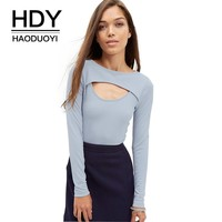 HDY Haoduoyi Midnight Blue Women Slim Cotton T-shirt Sexy Street Crew Neck Front Double Layer Tee Casual Cut Out Long Sleeve Top