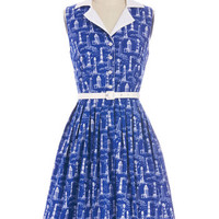 Bea & Dot Nautical Long Sleeveless A-line Beacon of Charm Dress in Coast