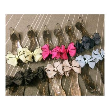 Sandals Peep-toe Bowknot Beach Jelly Shoes Flower