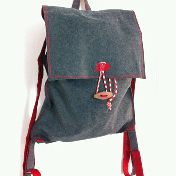 ON SALE Torfajökull - grey and red lightweight backpack, laptop bag, rucksack - Volcano Store