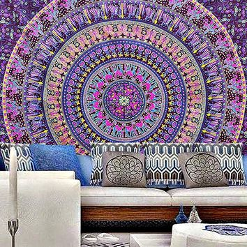 Aribella Purple Blue Mix Queen Size Boho Tapestry