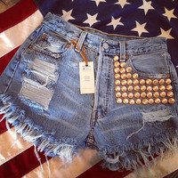 Levis high waist destroyed denim shorts super frayed with lots of ROSE GOLD studs size Med