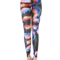 LoveLiness Cute Jellyfish Marine Organisms Print Leggings One Size