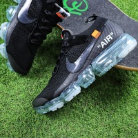 Sale OFF WHITE x Nike Custom Air VaporMax 2.0 OW Sport Running Shoes Black Ice Blue Sneaker