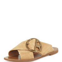 Grant Suede Sandal Slide, French Luggage - Tory Burch