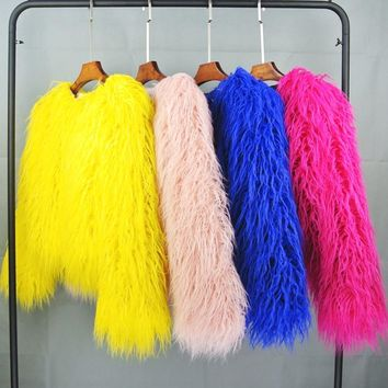 ZADORIN Colorful Boho Furry Faux Fur Coat Plus Size Women Fur Coats Winter Pink Faux Fur Shaggy Jacket fourrure bontjas