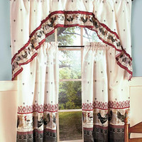 Rooster Theme Kitchen 3 Pc Curtain Set Braided Rug Country Rustic Home Decor