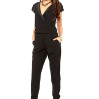 Black V-Neck Casual Jumpsuit
