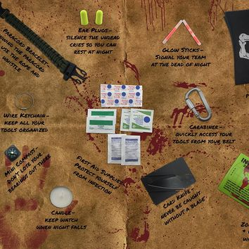Zombie Apocalypse Survival Kit by Citadel Black - Knife, Multi-tool, Fire Starter, Skull Mask, Zombie Hunting Permit, First Aid, And More