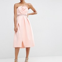 ASOS Embellished Trim Folded Bandeau Prom Dress at asos.com