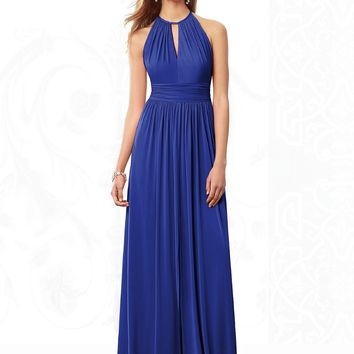 After Six by Dessy 6696 Long Halter Jersey Bridesmaid Dress