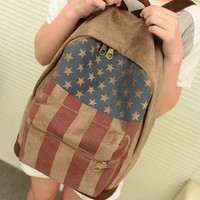 Vintage American Flag Canvas Backpack