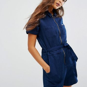 Lee 70s Inspired Indigo Playsuit at asos.com