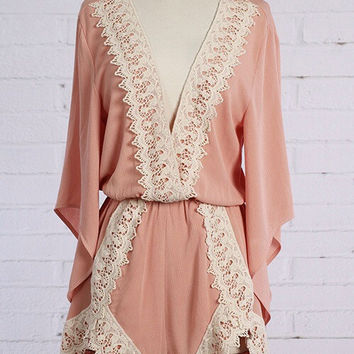 Drive Me Crochet Trim Romper - Dusty Pink