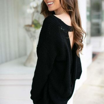 My Better Half Open Back Sweater in Black
