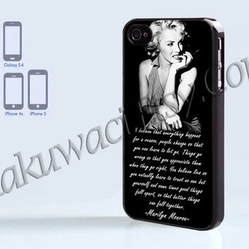 Marilyn Monroe Quotes - iPhone 4 case - iPhone 4S case - Samsung Galaxy S3/S4 - iPhone case - Hard Plastic - Case Soft Rubber Case