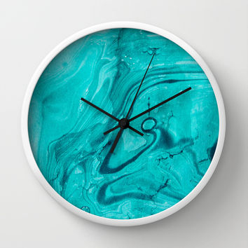 Watercolors teal Wall Clock by VanessaGF